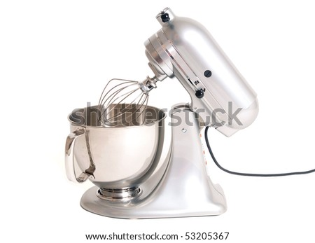 Stainless steel electric mixer - stock photo