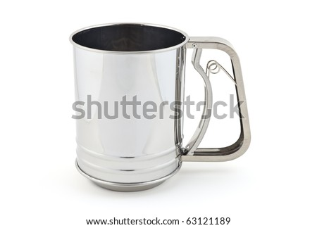 Stainless steel flour sifter isolated on white background
