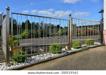stainless steel gate - stock photo