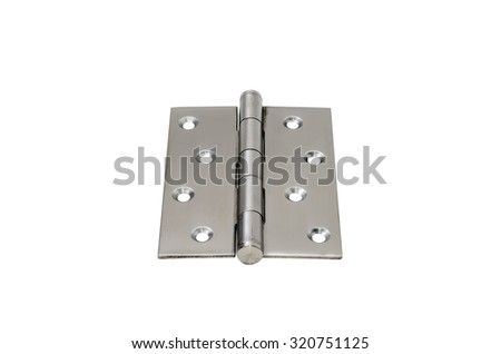 Stainless steel hinges isolated on white background - stock photo