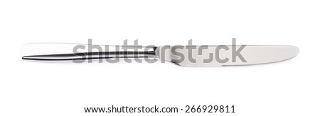 Stainless steel kitchen glossy metal knife isolated over the white background - stock photo
