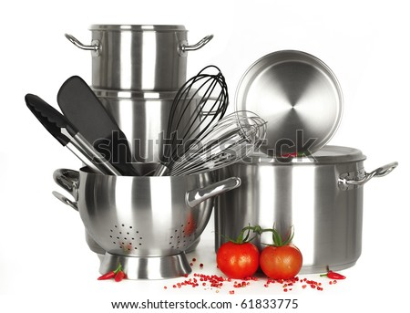 stainless steel kitchen tools, pot, pan, wire whisk on white Background - stock photo