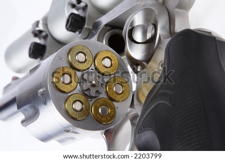 Stainless steel 44 magnum handgun with scope