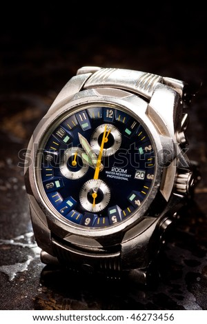 Stainless Steel Men's Wrist Watch - stock photo