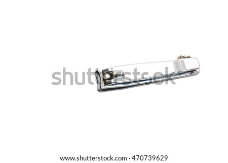 Stainless steel nail clippers isolated on a white background