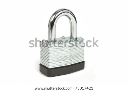 Stainless Steel Padlock Isolated on White Background - stock photo