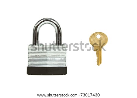 Stainless Steel Padlock with Key Isolated on White Background - stock photo