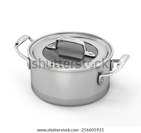 Stainless steel pan for cooking isolated on white background. 3d illustration.