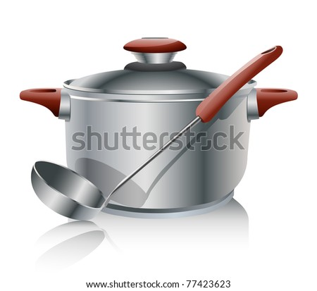 stainless steel pan isolated on white - stock photo