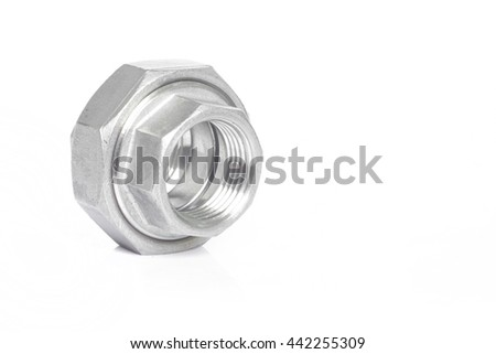 Stainless steel pipe fittings for plumbing for industrial on white background. - stock photo
