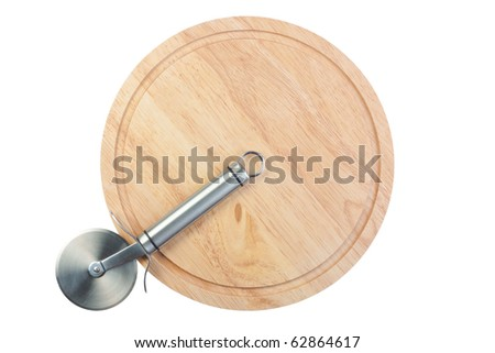 Stainless steel pizza cutter on wooden chopping board, isolated on white