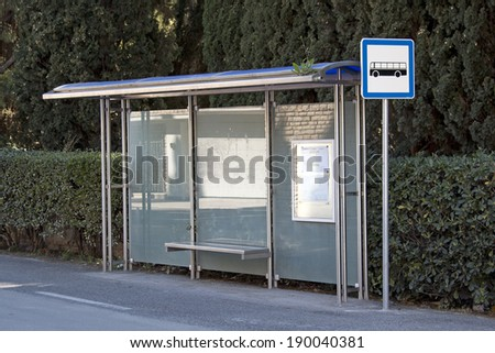 Stainless steel plastic eaves on bus station - stock photo