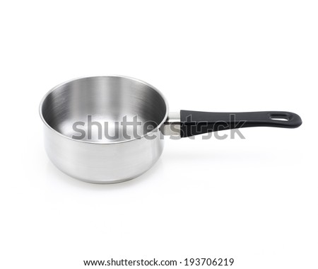 stainless steel pot isolated  - stock photo