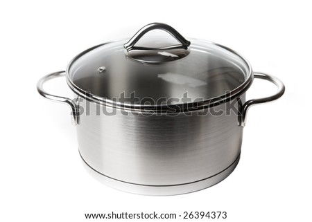 Stainless steel pot isolated on white