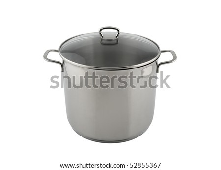 Stainless steel pot isolated on white - stock photo