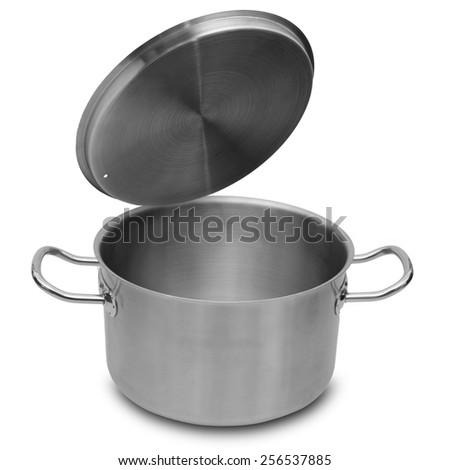 Stainless steel pot isolated on white background. - stock photo