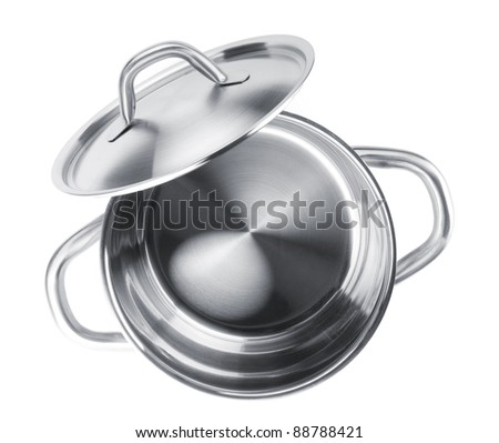 Stainless steel pot. View from above. Isolated on white background - stock photo