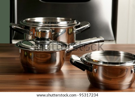 Stainless steel pot with cover in kitchen