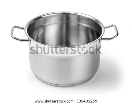 Stainless steel pot without cover. Isolated on white background with clipping path - stock photo