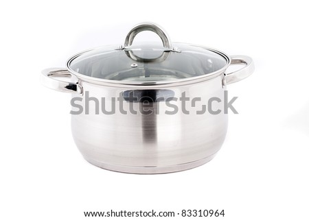Stainless steel pots and pans isolated on white background - stock photo