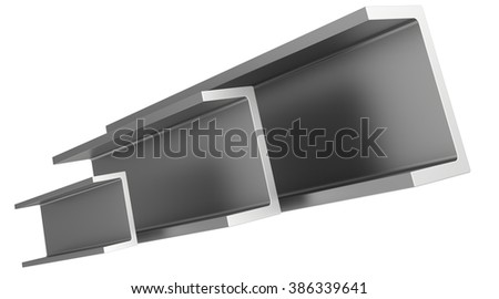 stainless steel profiles on a white background. - stock photo