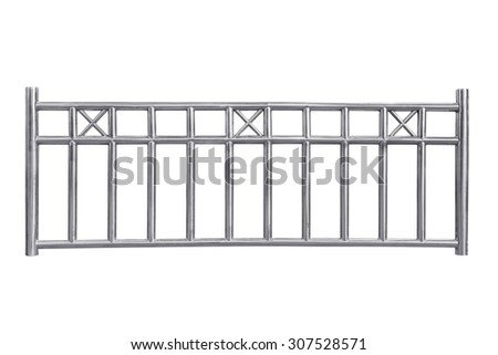 Stainless steel railing isolated on white, with clipping path. - stock photo
