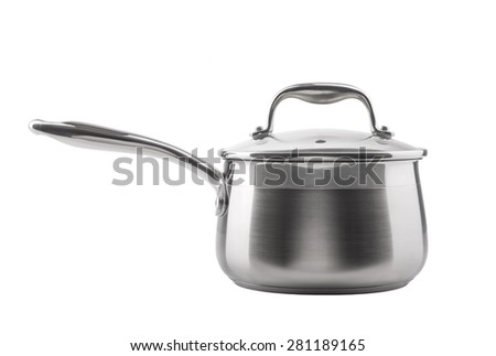 Stainless steel saucepan isolated on white background - stock photo