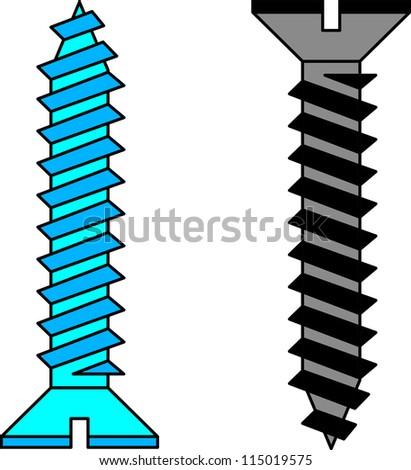 Stainless steel screw.  illustration. - stock photo
