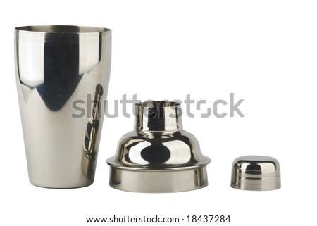 stainless steel shaker parts on white - stock photo