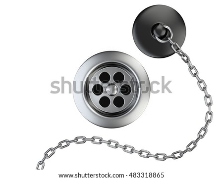 Stainless steel sink drain and rubber plug with chain isolated on a white. 3d illustration.