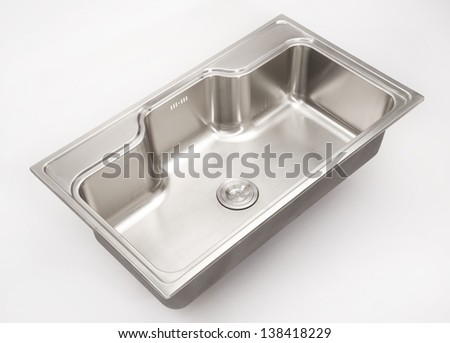 stainless steel sink with white background - stock photo