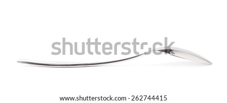 Stainless steel small kitchen dessert spoon isolated over the white background, side view foreshortening - stock photo