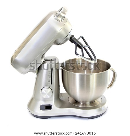 Stainless Steel Stand Mixer with Scraper Isolated on White - stock photo