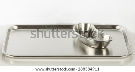 Stainless steel Stomatological tray, Medical tray and kidney tray - stock photo