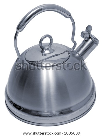 Stainless Steel Teapot - Isolated - stock photo
