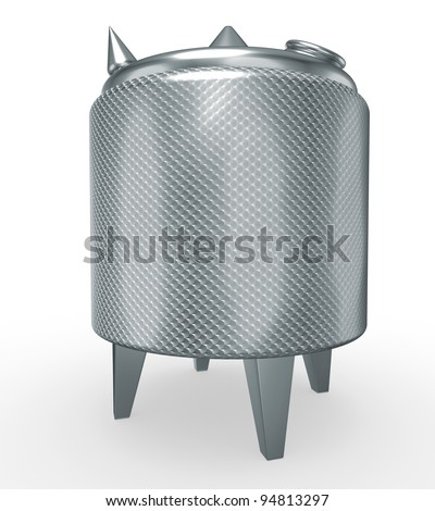 stainless steel temperature controlled pressure tank, 3d render isolated on white - stock photo