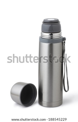 stainless steel thermos - stock photo