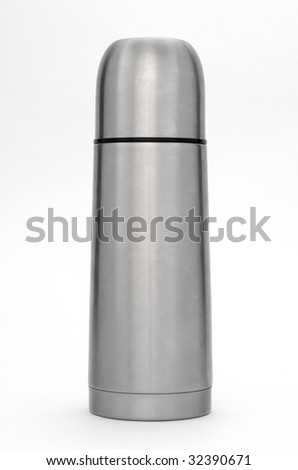 Stainless steel thermos on white background.
