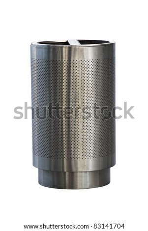 Stainless steel trashcan - stock photo