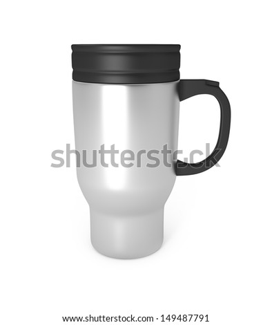 Stainless Steel Travel Mug isolated on white - 3d illustration - stock photo