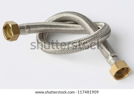 Stainless steel water hose isolated on white