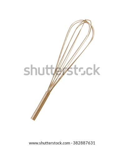 Stainless steel whisk isolated - stock photo