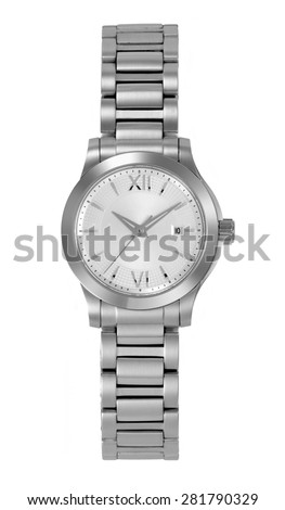 stainless steel wristwatch for woman, isolated - stock photo