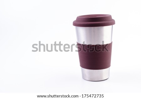 Stainless thermo coffee mug cup on isolated white background - stock photo
