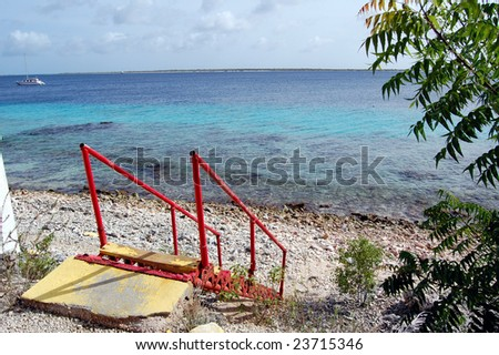 Stair access Caribbean beach - stock photo