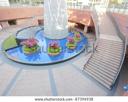 Stair and garden - stock photo