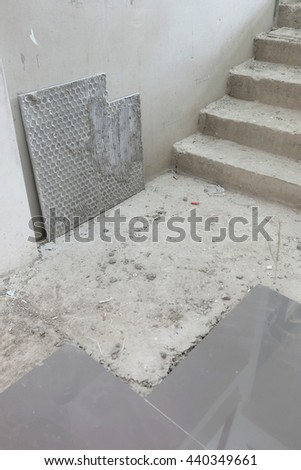 stair and tile materials in construction  - stock photo