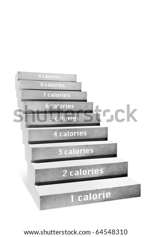 stair, health concept on white background - stock photo