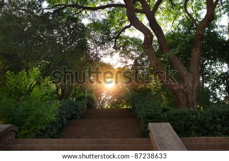 Stair in a beautiful park. - stock photo