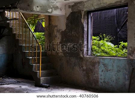 stair in the dark ruin - stock photo